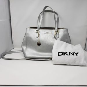 💕DKNY💕 Silver Leather Satchel Bag with Dust Bag!